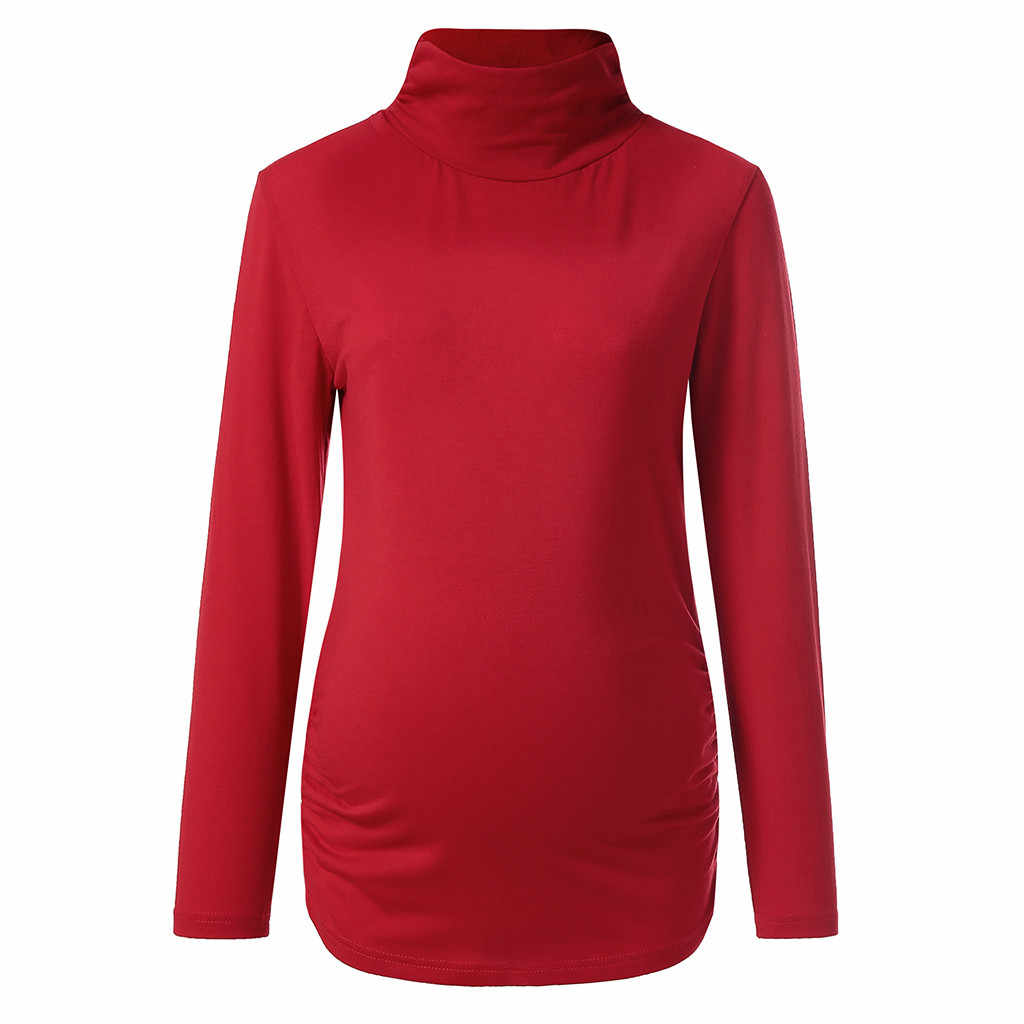 Для беременных Топы Для женщин для беременных, с длинным рукавом невысокая горловина; Одежда для беременных; Для женщин блузка рубашка Топы Повседневное черный цвет