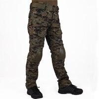 Hunting camouflage pants tactische Broek Jungle Digital JD broek en kniebeschermers militaire game cosplay uniform