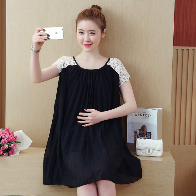 811129db85 Best Selling Summer Maternity Dress Hollow Out Lace Pregnant Dress Loose Maternity  Gown Pregnancy Clothes 9109