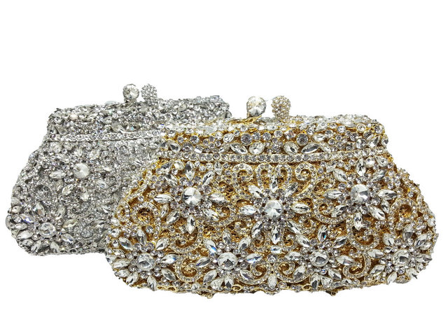 Gift Box Metal Minaudiere Clutch Silver Evening Crystal Handbags Women Socialite Party Prom Bag Bridal Clutches Wedding Purse