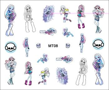 1 hoja de uñas MT08 Monster High Ice Blue Abbey, calcomanía de...
