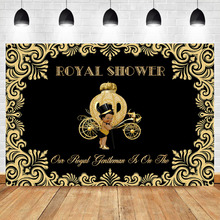 NeoBack Royal Baby Shower Photo Backdrops Little Prince Gold Pattern Pumpkin Car Dark Skin Boy Black Background Studio