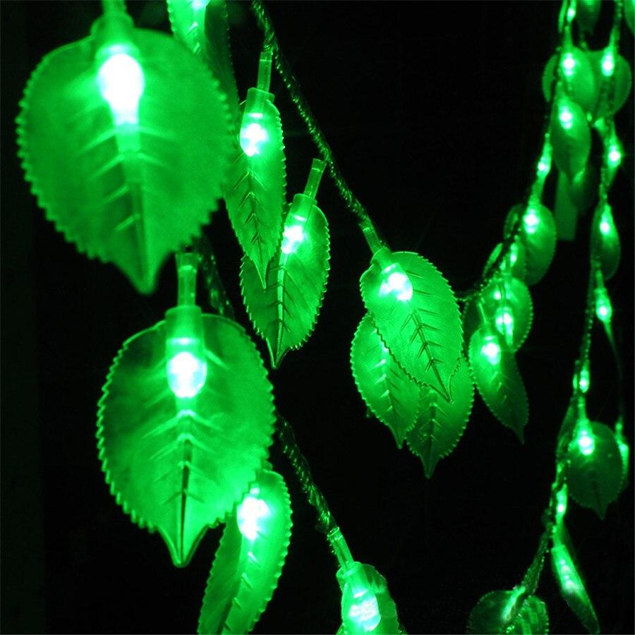 JULELYS Fairy Lights Battery Powered LED String Lights Window Leaf Garland Light Outdoor Christmas Decorations For Garden Home