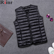 Riinr Brand New Men's Winter Jacket Vest Casual Outwear High Quality Solid Color Ultralight V-Neck Duck Down Sleeveless Jackets