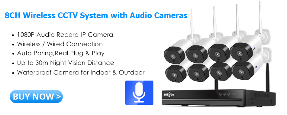 Hiseeu 8CH Wireless Security Camera System with Audio Record Cameras