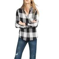 2016 Women Vintage Plaid Rivet Shirt Blusas Feminina Full Sleeve Lapel Single Pockets Design Blouse Female