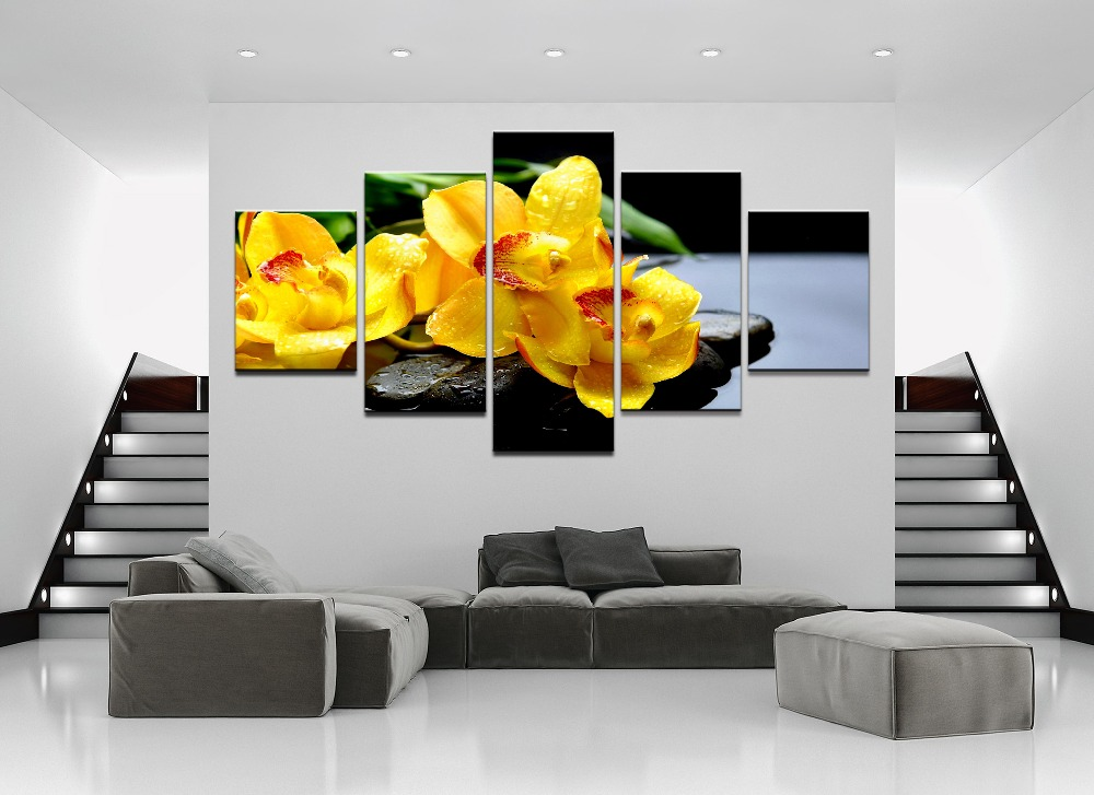 Canvas-Painting-Home-Wall-Art-Print-Pictures-5-Pieces-Flower-Orchid-Spring-Stone-Water-Yellow-Flower (2)