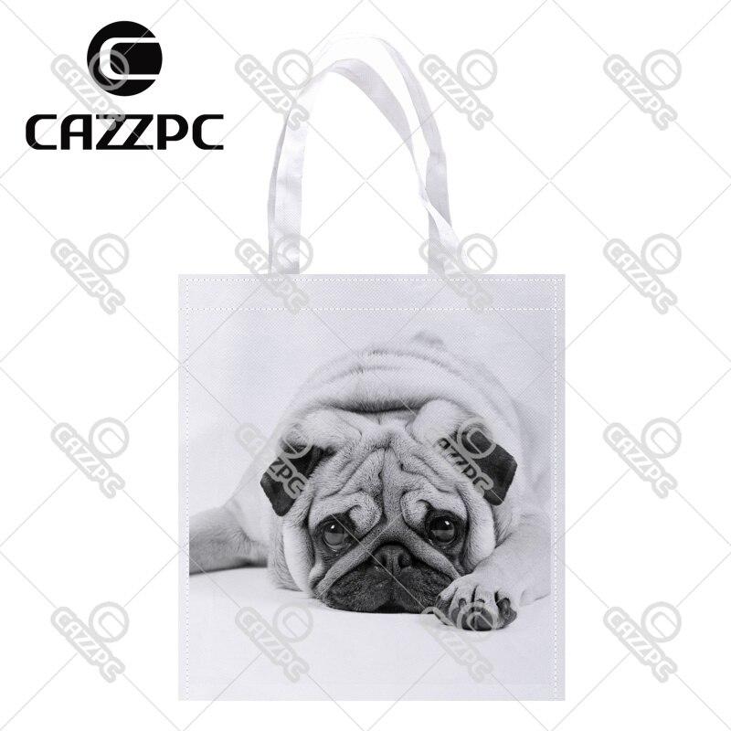 cute pug black and white Print Custom individual lightweight polyester fabric Reusable Bag gift bag