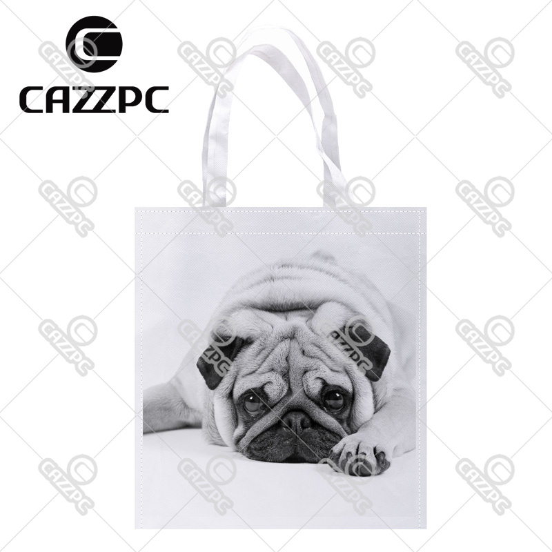 cute pug black and white Print Custom individual lightweight polyester fabric Reusable Bag gift bag