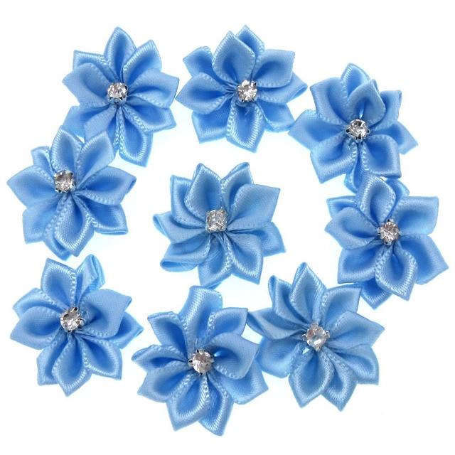 40Pcs Blue Small Satin Flowers Fabric Rhinestone Flowers Appliques Sewing Decoration  Wedding Garment 2.8cm 8050cdf58bd2
