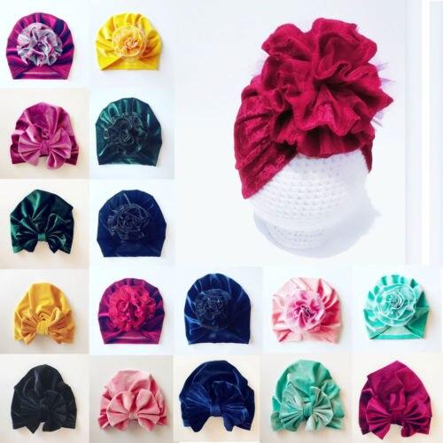 UK Cute Baby Girls Boys Bow Turban Hat Toddler Kids Head Wrap Hijab Headband Cap