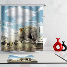 Monily Polyester Waterproof Vintage World Map India Elephant Shower Curtain  Bathroom Curtains 12 Hooks Mildewproof Bath
