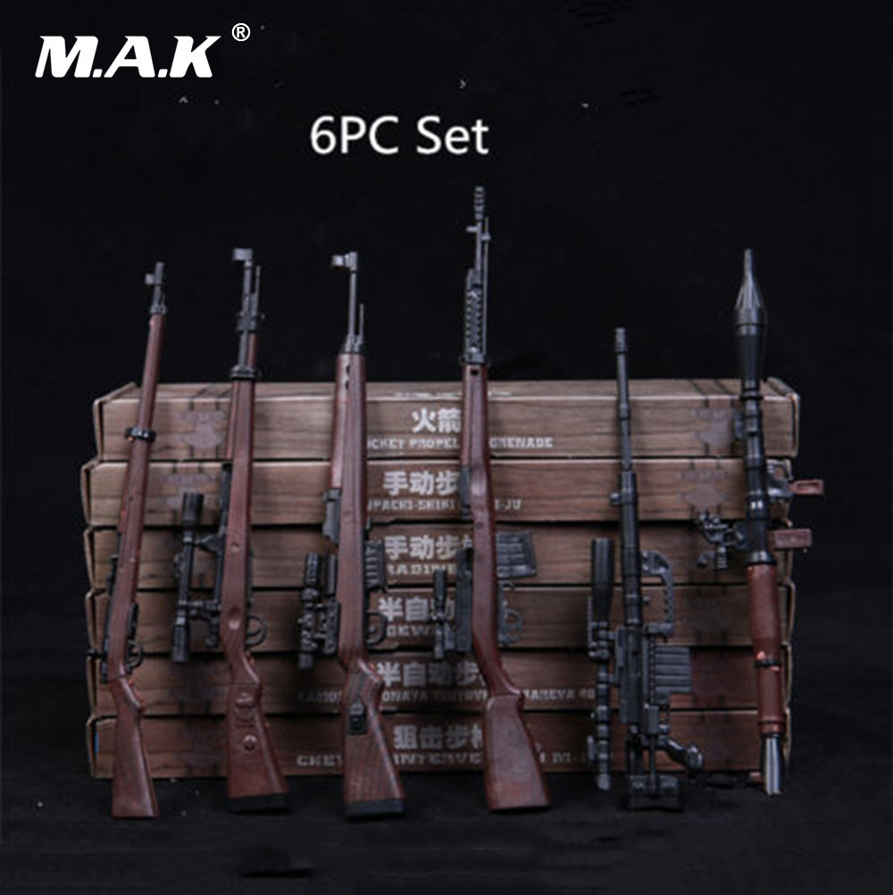 6pcs/Set 1/6 Soldier Automatic Rifle Sniping Weapon Gun Models 4D RPG M14 for 12 Inches Action Figures Dolls 2017 new 1 6 1 6 12 action figures g43 sinper rifle tactical gun christmas gift free shipping boy toy birthday present