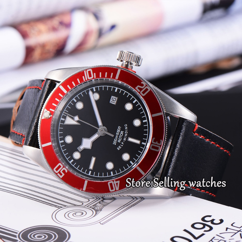 41mm corgeut black dial red bezel 21 jewels miyota Automatic diving mens watch  41mm corgeut black dial red bezel 21 jewels miyota automatic diving mens watch