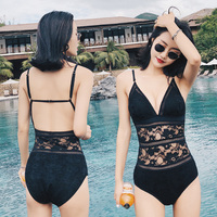 Summer Sexy Black White Transparent Lace Thong One Piece Swimsuit 2018 New Women Swimwear Asian Beach