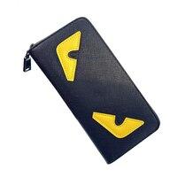 Cross Grain Leather Women Wallets Single Around Zipper Patchwork Monster Wallet Long Design Leather Clutch Wristlets