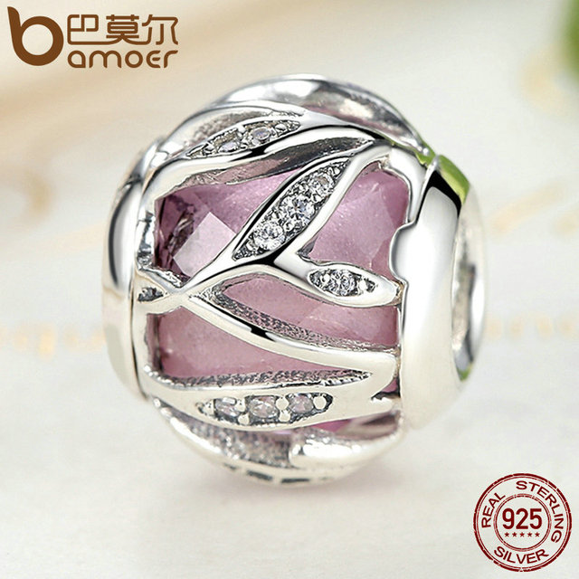 Sterling Silver Pink Nature's Radiance Sparkling Leaves Charm