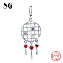 SG Style Original Charm beads silver 925 Red Enamel Heart Beads Fit Authentic pandora bracelet fashion Jewelry Gifts