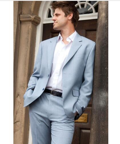 Custom Made Light Color Men Suit Tuxedos Blazer Costume Homme Groomsmen Mens Prom Cothing Business Suits (Jacket+Pants)