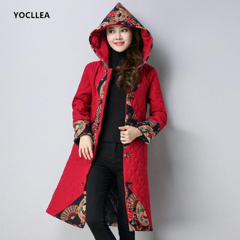 Warm Autumn Winter Hooded Parkas Coat Women vintage Print Patch Designs Long Cotton Linen Parka mujer