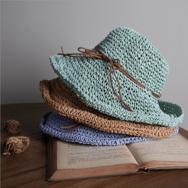 008f3128d8604 2018 Plain Handmade Weaving Paper Straw Summer Hat For WOmen Foldable Bowler  Sun Hat Fashion Girls Beach Sun Screen Hat Caps