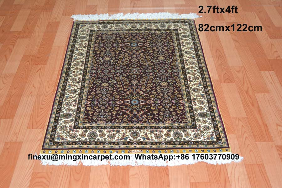 82x122cm 2 7x4ft Handknotted Silk Carpet Rugs Top Quality Cost Price Original Production