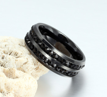 ZORCVENS High Quality Male Punk Vintage Black Stainless Steel Jewelry Two Rows CZ Stone Wedding Ring for Man Woman 5