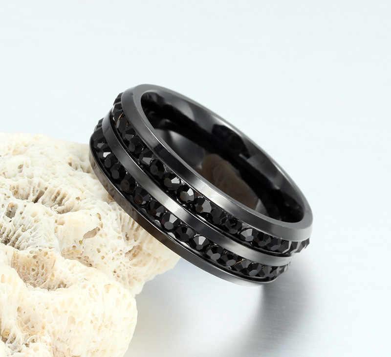 ZORCVENS คุณภาพสูงชาย Punk Vintage สีดำสแตนเลสเครื่องประดับ 2 แถว Cz งานแต่งงานแหวนสำหรับ Man Woman