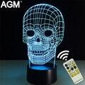 Crânio esqueleto Forma candeeiro de mesa de Toque NightLight 7 Cores Em Mudança de Dormir Lamparas Luz Acrílico USB 3D LED lâmpadas Para O Presente