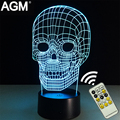 Skeleton Shape Table lamp Touch NightLight 7 Colors Changing Skull Sleeping Lamparas Light Acrylic USB 3D LED lamps For Gift