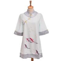 Chinese vintage geluk koi casual cheongsam lolita vis print qipao dress