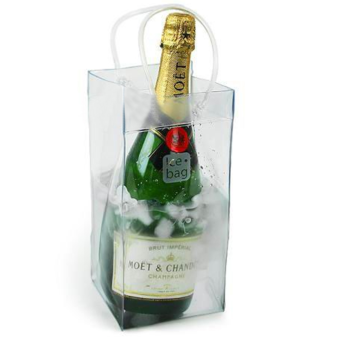 Durable Clear Transparent PVC Champagne Wine Ice Bag Pouch Cooler Bag with Handle