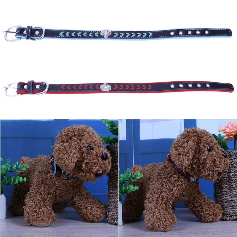 Crown Adjustable Dog Collar Soft Velvet Rhinestones Necklace Collars for Small Medium Dogs Cats Yorkie Blue/Red S M L XL