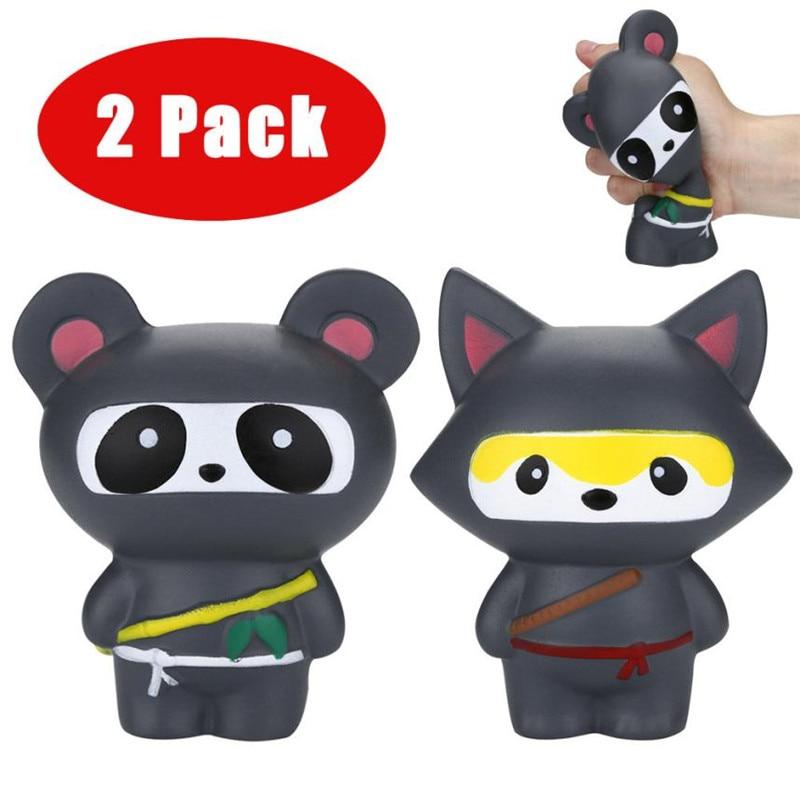 Novelty Anti-Stress Toy 2Pcs Jumbo Squishies Ninja Panda&Ninja Fox Scented Slow Rising Squeeze Stress Reliever Toy Gifts *35