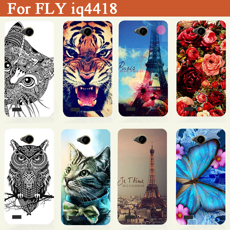 Hot Selling New Patterns SOFT TPU Case For Fly IQ4418 IQ 4418 ERA Style 4 Phone case Cute Owl Flowers Eiffel Towers Printed