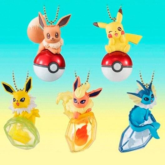 5pieces/set Keychain Eevee Vaporeon Jolteon Flareon Pkchu Action & Toy Figures Collection Toy Pks