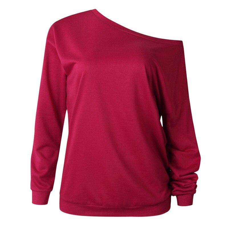 19 New Autumn Long Sleeve Women Casual Sweatshirts Off Shoulder Black Gray Tops Sweatshirts Streetwear Female Loose Sweatshirt 12