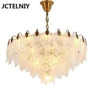 Modern LED chandelier designer model room restaurant lights Nordic living room bedroom lights glass leaves chandelier