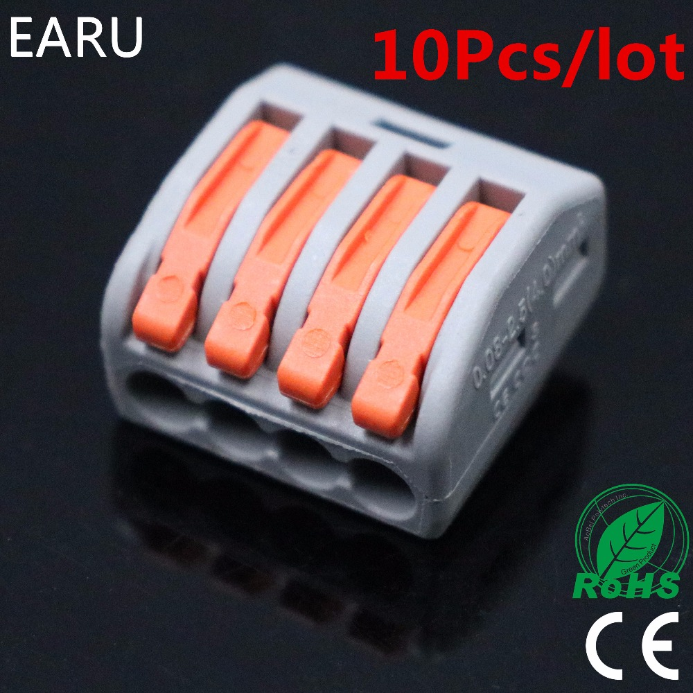 10Pcs PCT-214 PCT214 WAGO 222-414 Universal Compact Wire Wiring Connectors Connector 4 Pin conductor terminal block lever fit 10 pieces lot 222 413 universal compact wire wiring connector 3 pin conductor terminal block with lever awg 28 12