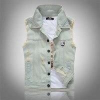 2016 New Stylish Cool Men S Light Blue Denim Vest Washed Vintage Ripped Distressed Waistcoat Sleeveless