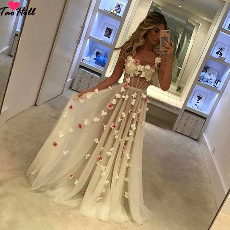 TaoHill   Evening     Dresses   for Girls A-line Flower Straps Light Champagne Sexy See Through Long Woman   Dresses   for Party