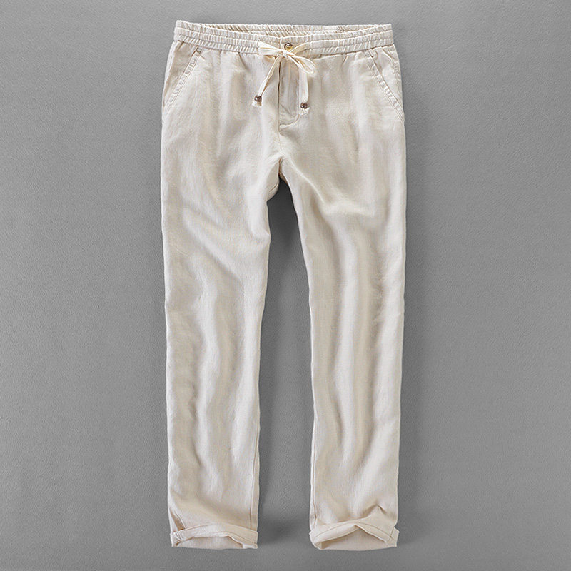 100% Linen Pants Men Loose Elastic Trousers Men Brand Casual Pants Mens Spring Summer Trousers Mens Plus Size 30-40 Pantalon
