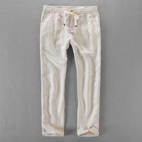 100% Linen pants men loose elastic trousers men brand casual pants mens spring summer trousers mens plus size 30-40 pantalon Casual Pants