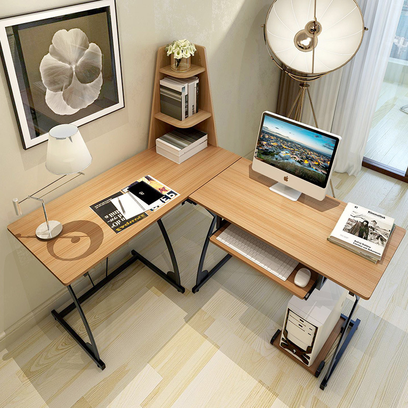 buy modern multi functional combination of simple wood home desktop computer desk multilayer shelves learning office desk shipping from