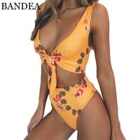 BANDEA 2018 Hoge Taille Badpak Bloemenprint Bikini Set Sexy hoge Cut Badmode Push Up Badpak Vrouwen Lace Up Biquini