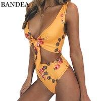 BANDEA 2018 High Waist Swimsuit Floral Print Bikini Set Sexy High Cut Swimwear Push Up Bathing