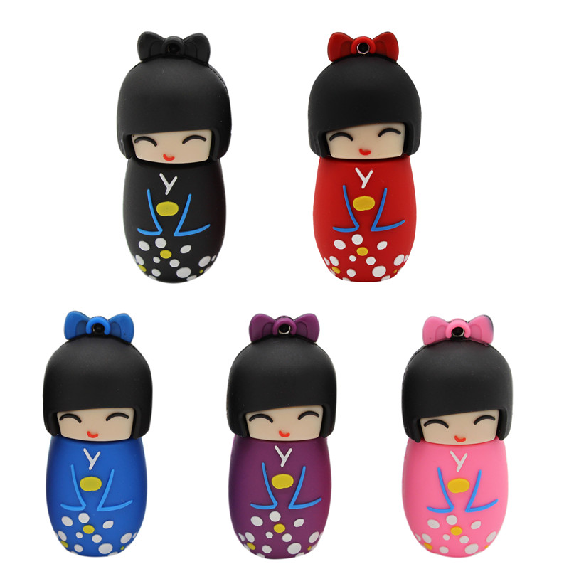 BiNFUL USB Flash Drive 64G Pen Drive 32G 16G  Style Japanese Doll Toy Pendrive