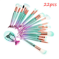 USPS 22PCS Mermaid Plating Makeup Brushes Foundation Eyebrow Eyeliner Blush Cosmetic Concealer Brushes Mermaid Shaped For