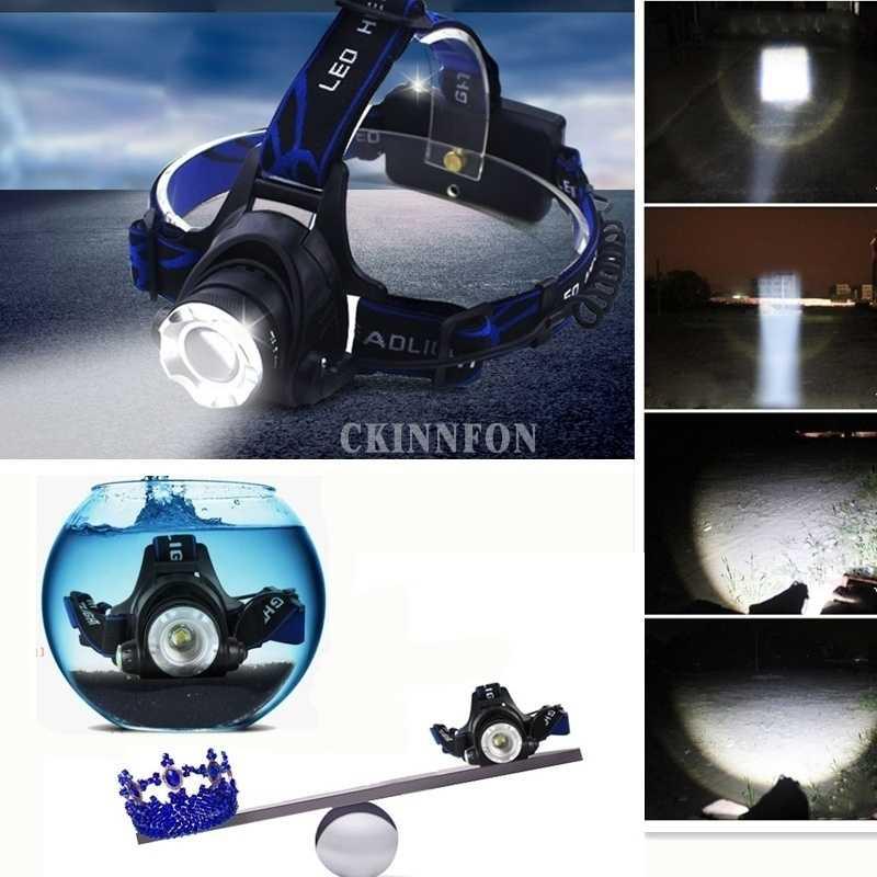 DHL 10 8000LM XM-L T6 LED faro Zoomable Faro de pesca linterna lámpara para acampar + 2x18650 batería + de carga