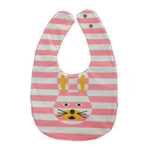 ABWE Best Sale rabbit Bowknot Double-sided Cartoon Buttons Baby Bibs Bibs Scarves Color: Pink